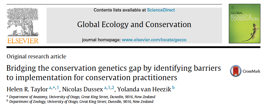 Helen And Nics Latest Publication On Conservation And Genetics